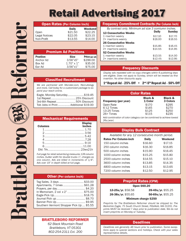 Brattleboro Reformer Rate Sheet