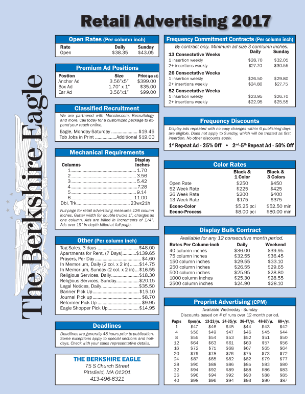 Berkshire Eagle Rate Sheet